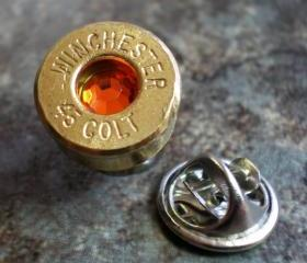 45 Colt Winchester Brass Bullet Head Lapel Tie Tac Hat Pin Birthstone November Topaz